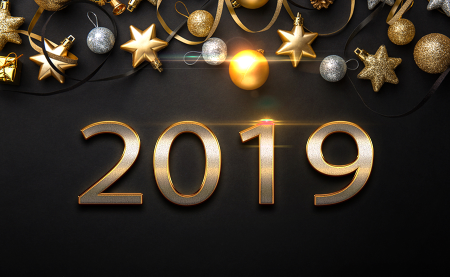 2019 Golden New Year Sign With Golden Glitter On Black Background. Vector New Year Illustration. Hap: 2019 golden New Year sign with golden glitter on black background. Vector New Year illustration. Happy New Year Banner with 2019 Numbers on Bright Background